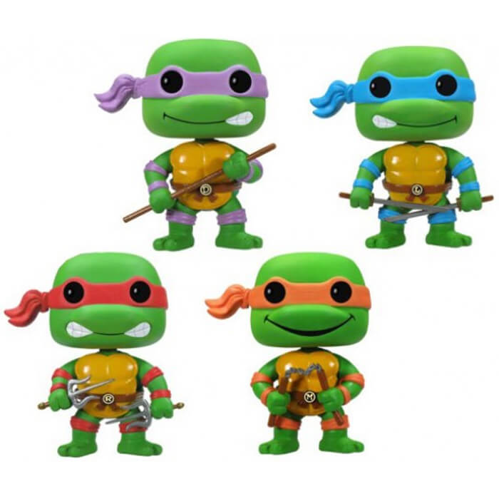 Figurine Funko POP Donatello, Raphael, Michelangelo & Leonardo (Glow in The Dark + 4 Pack) (Tortues Ninja)